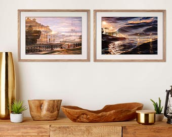 Diptych Fine art photography wall art set of 2 prints, City art photography, Purple living room decor, Large Gallery wall set, St Petersburg