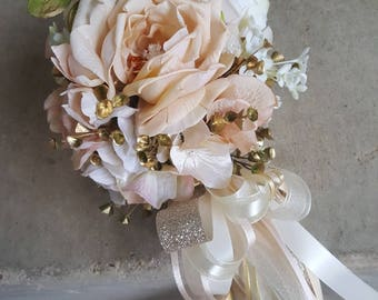 Custom Order for ONE Flower Girl Pom Wand Antique Ivory White Blush
