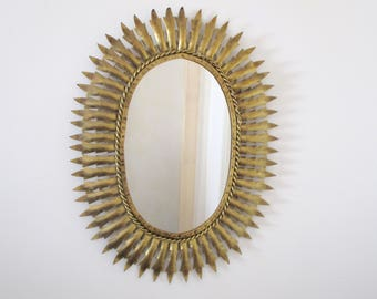Large Spanish Mid Century SUNBURST Metallic Mirror - Spiky Leaf Rays -  The Ultimate Design Statement - Vintage Decor