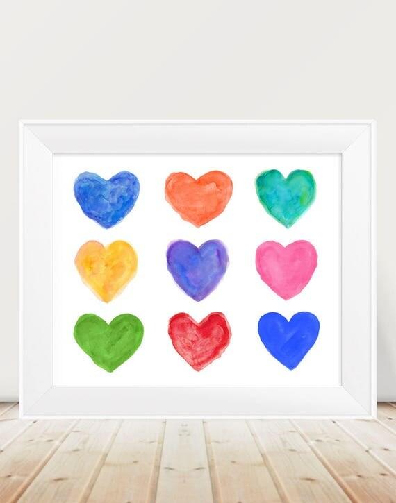 Kids Playroom Print, 11x14, Rainbow Hearts