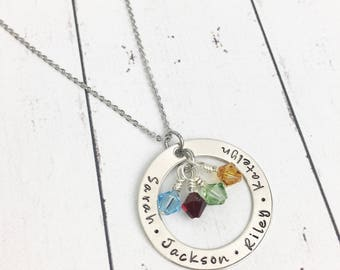 Mothers Necklace Kids Names - Mom Washer Necklace - Kids Birthstone Necklace - Gift for Mom -Mothers Gift - Mom Gifts - Stamped Mom Necklace