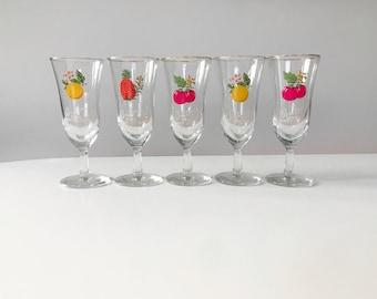 Vintage 1960s Set of 5 Britvic Fruit Juice Glasses