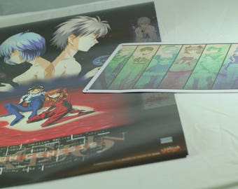 Evangelion Lot - 1999 Calendar (Official Image Posters) + Metal plate illustrated. RARE JAPAN
