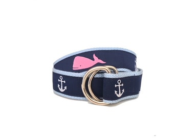 Whale and Anchor Ribbon Belt/ Woman's D-Ring Belt/ Men's D-Ring Belt/ Canvas Belt/ Preppy Belt/ Cloth Belt/Pink Whale and Anchor D-Ring Belt