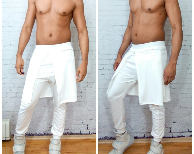 White kilt and jogger connected Mens Jogger With kilt Overlay With Faux Leather Side Inset White  color added