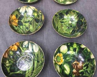 60's Fiberglass Floral Salad Bowls -- Set of x6 Bowls