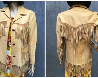 70's Pioneer Wear Leather Fringe Women's Jacket // Vintage Size 12