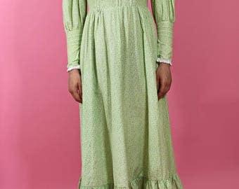 vintage 1970s laura ashley dress | little women | prairie esque cotton maxi dress | made in wales