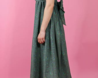 vintage early 1970s laura ashley dress | empire line maxi dress | cotton floral summer dress | prairie country feel | made in wales