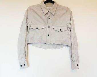Cropped Corduroy Shirt Vintage White Grey Crop Top Cord Button Up Shirt Crop Corduroy Button Up Shirt Women's Oversized Cord Shirt Crop Top