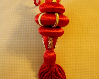Vintage Red and Gold Fringed Christmas Ornament