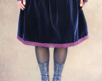 crushed Blue Velvet short skirt
