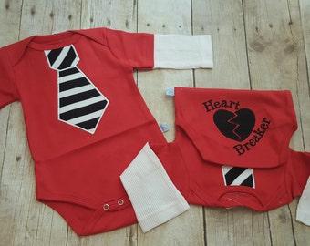 Heart Breaker Bodysuit - Embroidered Tie - Baby Boy Valentines Bodysuit - Valentines