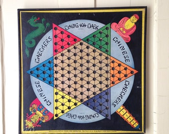Vintage 1930s Chinese Checkers Game Board Gotham Pressed Steel Corporation Framed Wall Decor