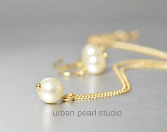Pearl Pendant on Gold Chain Cream Bridesmaid Gift Jewelry Sets Under 20 Swarovski Pearl Necklace Earrings Set Single Pearl