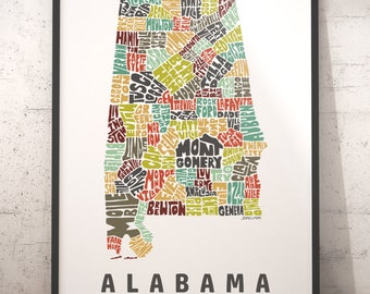 Alabama Map Etsy - Map of alabama with cities