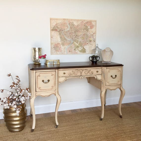 Shabby Chic Desk - French Provincial - Vintage Vanity Desk - Writing Table - Vintage Writing Desk - Distressed Desk - Vanity Makeup Table