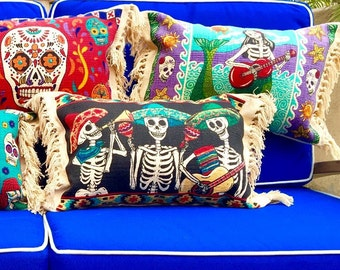 Day of The Dead Pillows / Mermaid Pillow / Mexican Blanket Pillow / Throw Pillows / Sea Gypsy / Cotton Pillows / Fall Decor