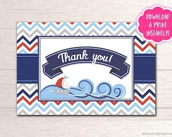 Ahoy It's A Boy Thank You Card - Printable - D004