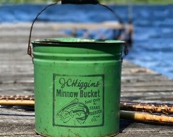 Vintage Green J. C. Higgins Minnow Bucket | Sears & Roebuck | Two Piece Minnow Bucket | Rustic Lodge | Farmhouse Decor | Cabin Collectible