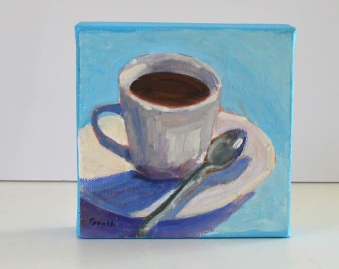 Original kitchen art, Food art,  Coffee cup painting,  Gift under 50, Still life oil, Coffee mug art,  kitchen decor, Garima Parakh
