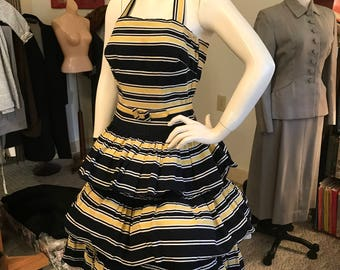 Exceptional Dramatic 1940's Tiered Halter Dress