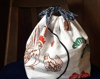 Bento Bag, Tenugui Bag, Lunch Bag, Drawstring Bag, Day Bag, Japanrse Bag, Vintage Kimono, Small Bag, Purse, Kinchaku, Kawaii, Sashiko
