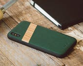 Leather Wood iPhone X Case, Leather & Wood iPhone X Case, Green Leather iPhone X Case - LTR-IPHONE-X
