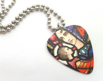 Stained Glass Design Guitar Pick Necklace with Stainless Steel Ball Chain - Cross - double sided - Madonna and Child