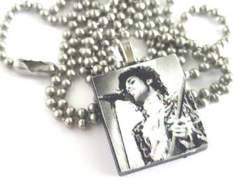 Prince Scrabble Tile Necklace with Stainless Steel Ball Chain