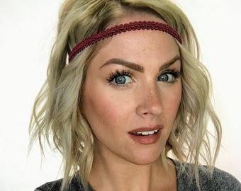 The Ashley - Burgundy Boho Forehead Headband