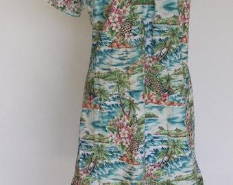 1960s Hawaiian Dress Hilo Hattie L/XL