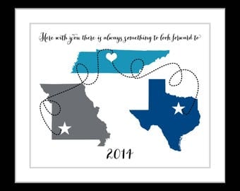 ANY Three States Long Distance Map Gifts 3 Locations With Special Meaning Quote Names Year Christmas Present Teal Gray Blue Wall Art Print