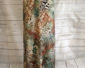 Olive Green, Rust, and Ivory Animal and Paisley Print Maxi Skirt