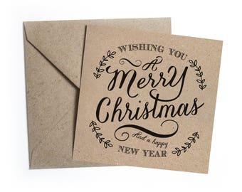 Rustic Christmas Eco Recycled Kraft Christmas Cards