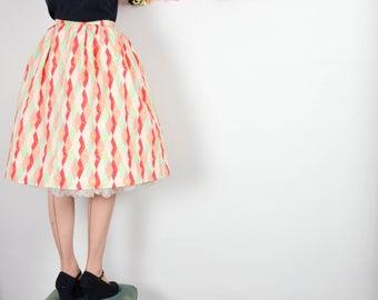 Holiday Harlequin Print Skirt in Red, Pink + Mint / Martinis & Mistletoe Skirt