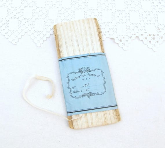 Antique Unused Wrap 25 Meters / 82 Feet of White Cotton Trim, Old Haberdashery / Craft Supplies, Victorian Dress Making Ribbon from France