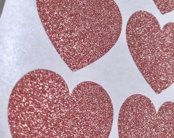 ROSE GOLD Heart Stickers, Sticker Seals