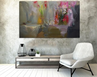 Large Oversized Painting for Living Room, Contemporary Art Painting, Grey original art abstract painting