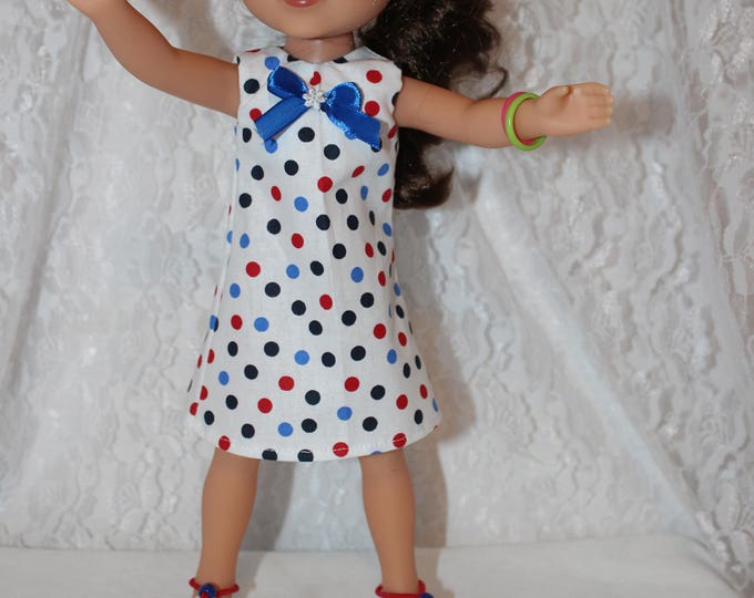Ready for Spring/Summer Polka Dot Print Dress with Ribbon and Shoes. Handmade to fit the wellie wisher and Heart to Heart doll FREE SHIPPING