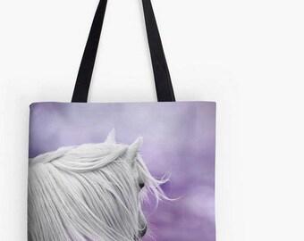 Horse tote, shopping bag, tote bag, equine photo, photo bag, horse bag, white pony, horse tote bag, pony tote bag, purple horse bag, lilac