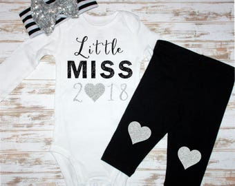 Little Miss 2018 New Year's Eve Silver Glitter No Shed Vinyl- Baby Bodysuit