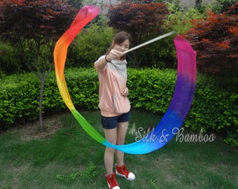 1 pc 2.5m*0.3m Rainbow(B) silk streamer, for dance or play, real light silk, intercangeable sticks