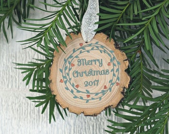 Merry Christmas 2017 Ornament, Tree Slice Ornament, Rustic Ornament