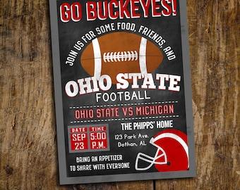 Ohio State Football Invitation | Ohio State Football Birthday | Tailgate Party Invitation | Digital Invitation