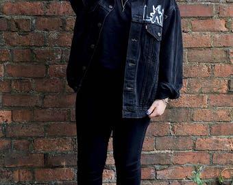 Vintage 90s Levis Black Denim Jacket With LAMF/JOHNNY THUNDERS/Like A MotherF&%ker Hand Painted Design