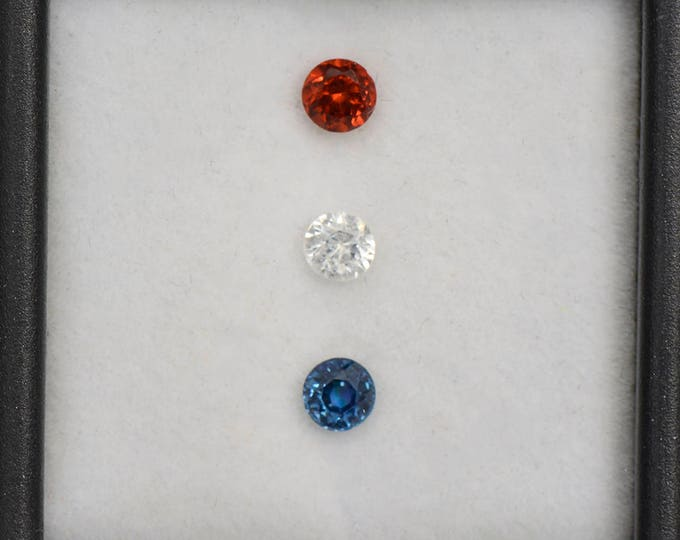 UPRISING SALE! Pretty Red White and Blue Sapphire Gemstone Set 0.81 tcw.