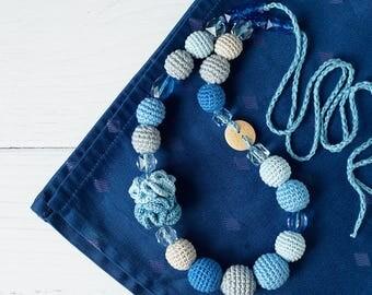 OOAK Boho Crochet Nursing necklace - Teething Babywearing Chewable Jewelry for breastfeeding Mommy - jean blue, pale blue, gray