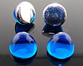 36 Vintage Sapphire Acrylic 9mm. High Dome Round Cabochons 7141