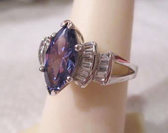Beautiful New Sterling Silver Simulated Sapphire & CZ Marquise Cocktail Ring Sz7 DESIGNER Signed 925/ADI Sparkly Wedding Engagement High End
